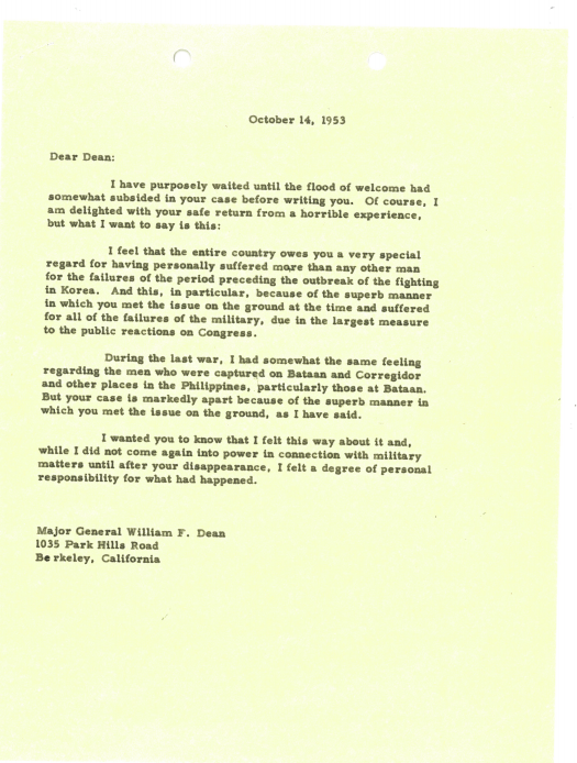 Marshall's Letter to Dean, pg. 1