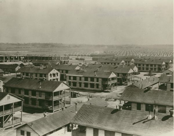 New barracks, and maneuver field in the background, Fort Benning, 1928